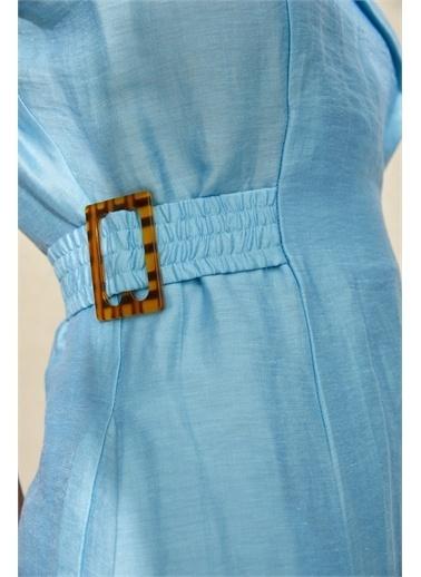 Setre Mavi Kolsuz Bele Oturan Elbise Mavi